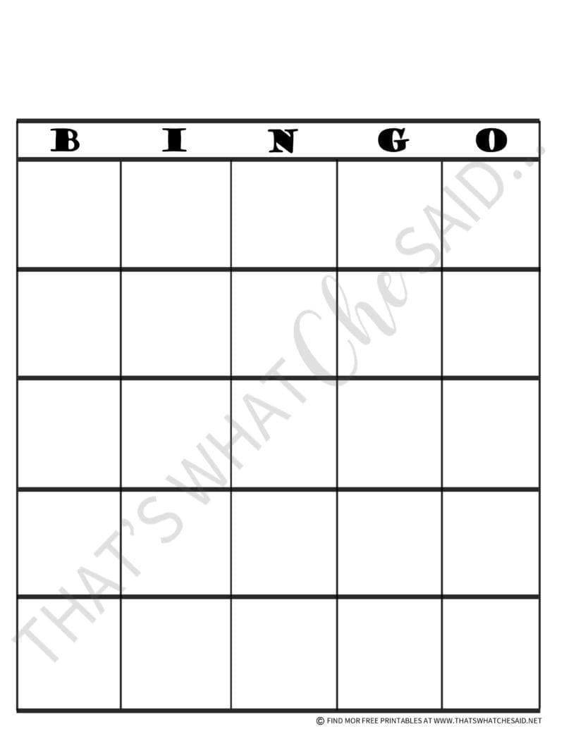 Print off your Free Bingo Board Template