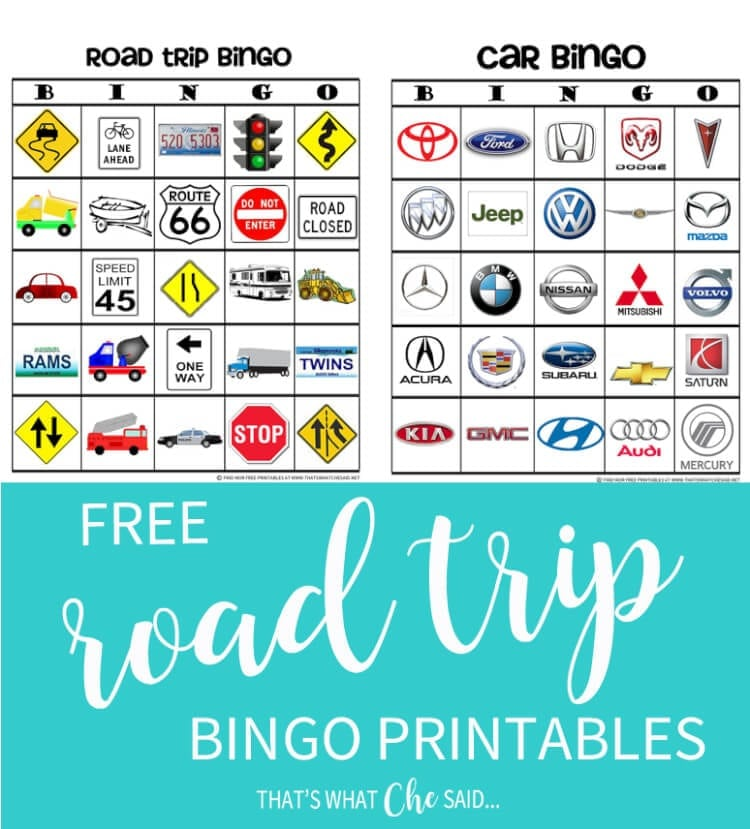 image regarding Travel Bingo Printable referred to as Highway Family vacation Bingo Recreation Absolutely free Printable - Thats What Che Mentioned
