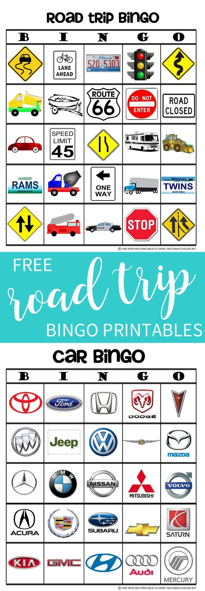 Road trip bingo game free printable thats what che said road trip bingo free printable solutioingenieria Images