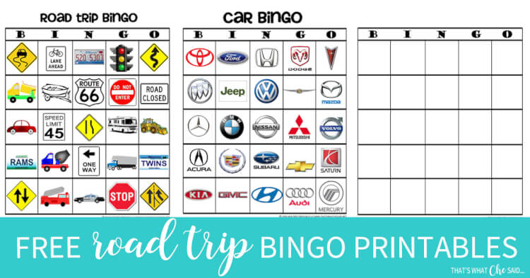 Print your own Free copies of road trip bingo