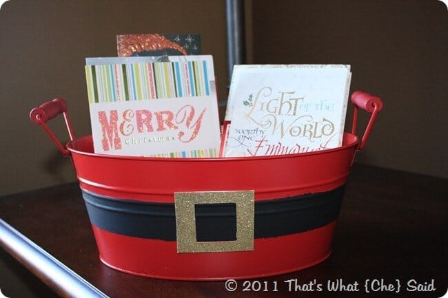 Santa Bin holding Holiday Cards