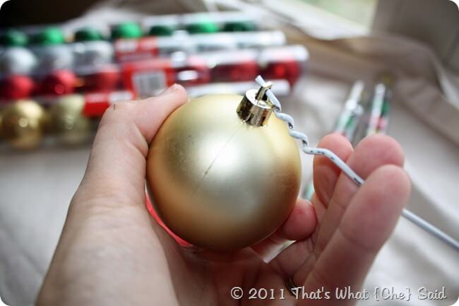Threading Ornaments onto Wire Wreath Form