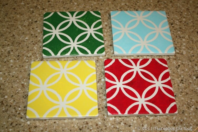 DIY Painted Tile CoastersThats What {Che} Said