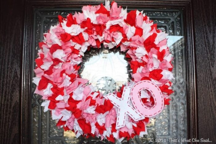 Easy Valentine's Day Wreath Using Scraps of Fabric.