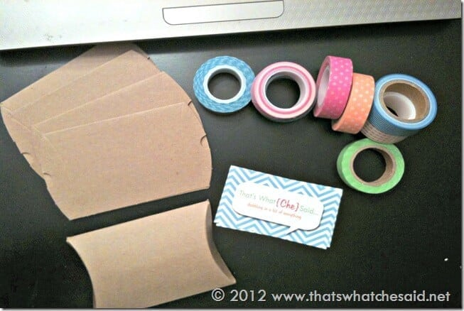 Washi Tape Kraft Pillow Box Business Card Holders