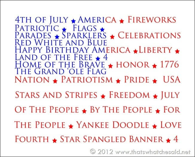 4th of July Printables-Flag 8 x 10