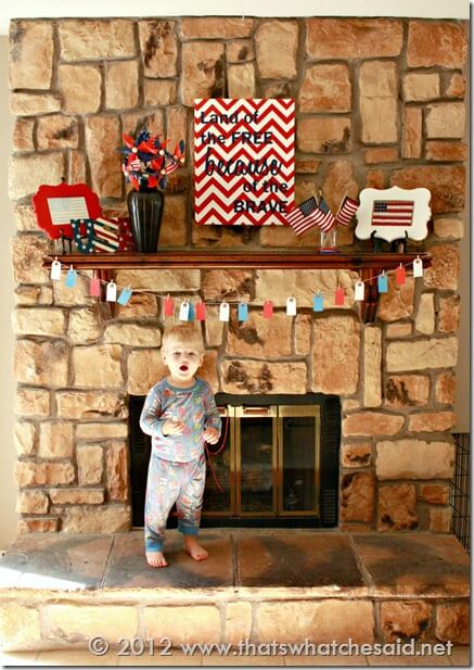 Fourth of July Mantle with Little