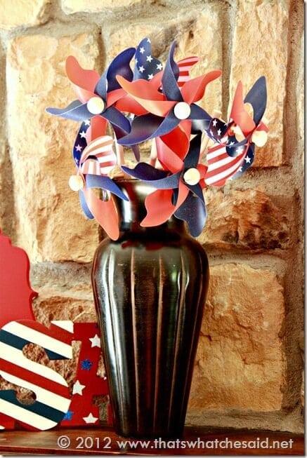 Fourth of july Mantle Pinwheels
