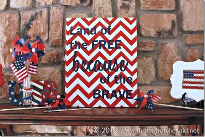 Patriotic Chevron Art Mantle View