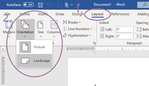 Screenshot of a word document and the menus needed to set page to landscape