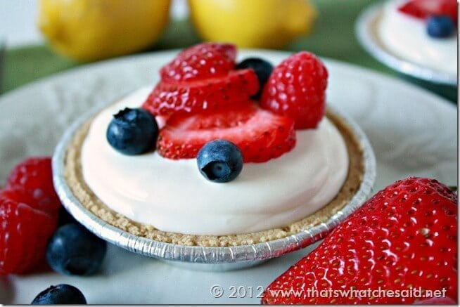 Frozen Lemonade Mini-Pie Close Up
