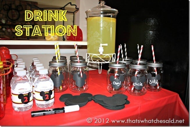 Mickey Mouse Birthday Party Drink Station