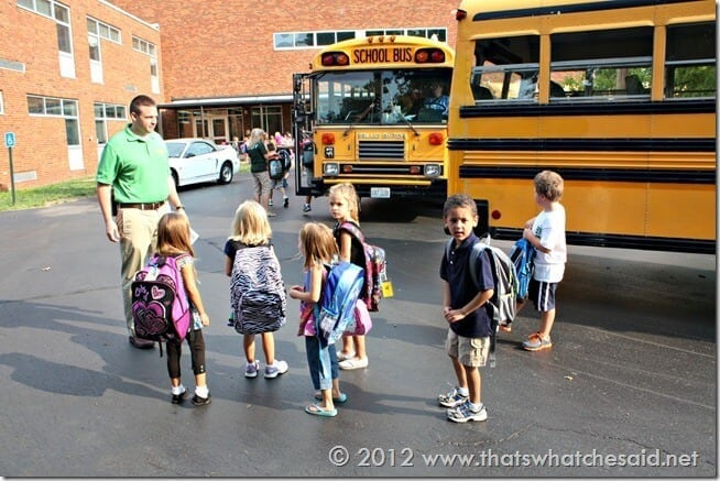 Kindergarteners on his bus