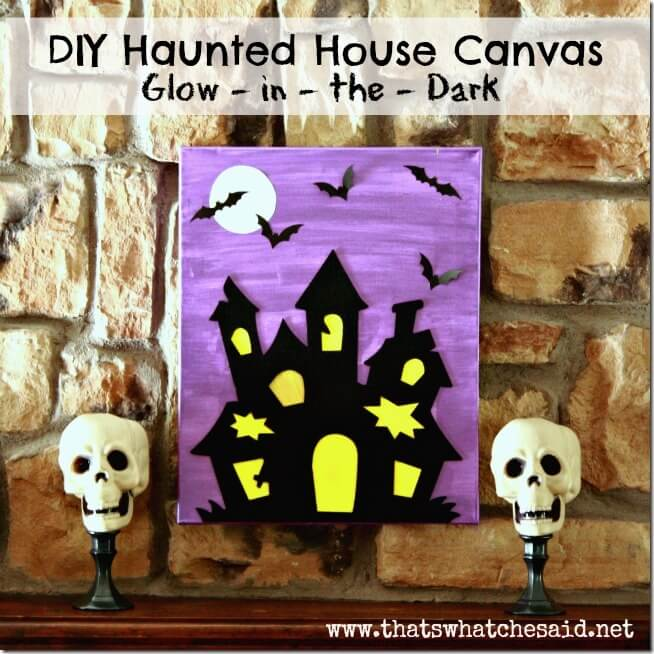 DIY Haunted House Canvas Glow In The Dark