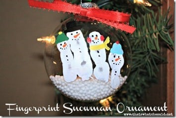 Snowman Fingerprint Ornament
