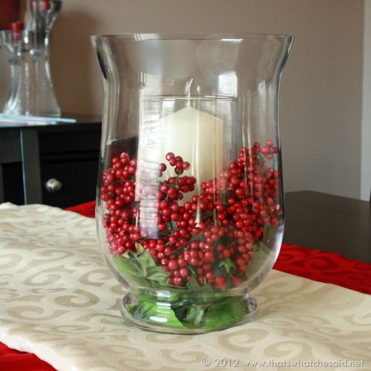 Berry candle centerpiece that 39 s what che said for Instructions to make christmas table decorations