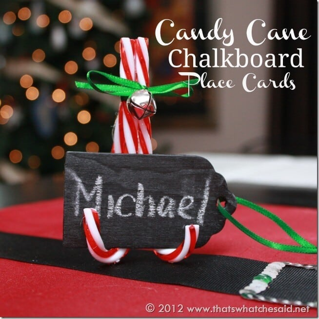 Candy Cane Chalkboard Place Cards
