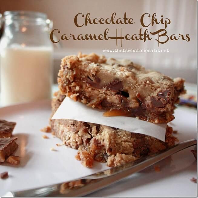 Chocolate Chip Caramel Heath Cookie Bars