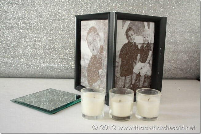 Picture Frame Luminaries.  Perfect for gifts, weddings and centerpieces!