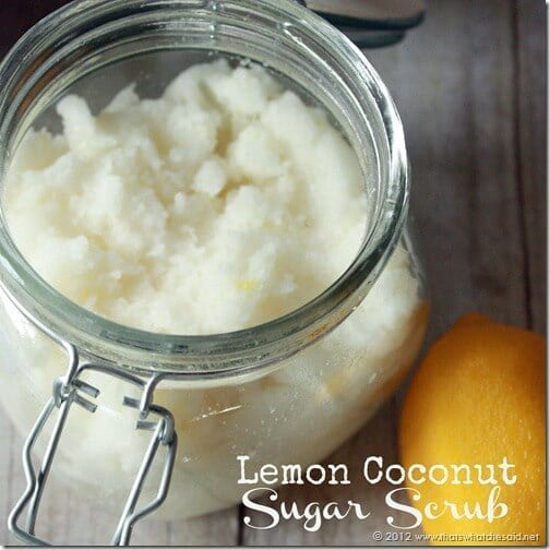 Lemon Coconut Sugar Scrub Square with words