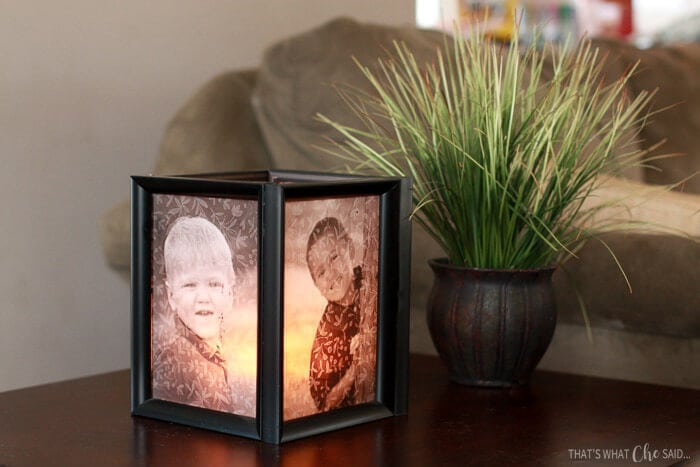 Easily make Picture Frame Luminaries with a few frames, glue and tea lights!