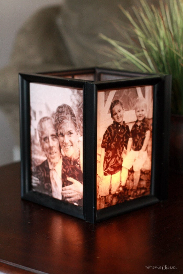 Assemble Picture Frames into a cube to form these awesome picture frame luminaries.