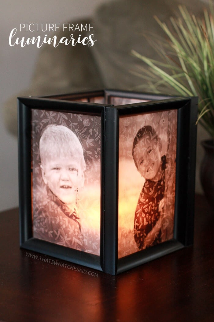 Easy and inexpensive tutorial to make these picture frame luminaries!