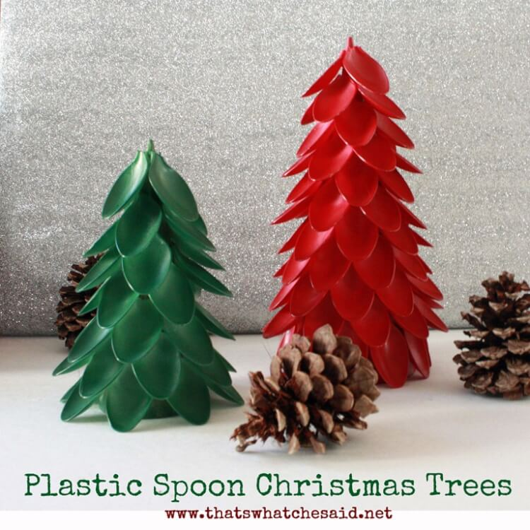 plastic spoon christmas trees can be painted to match any decor - Plastic Christmas Tree