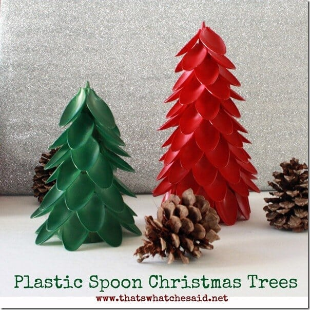 Plastic Spoon Christmas Trees! Can be painted to match any decor!