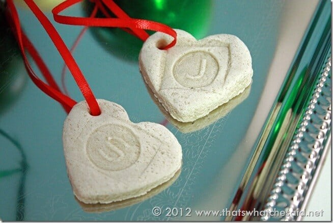 heart salt dough ornaments
