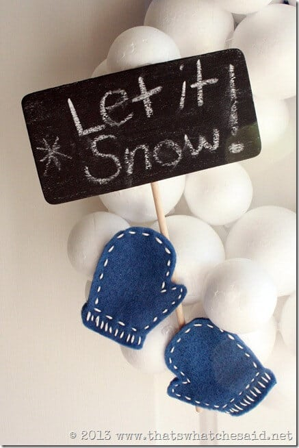 Let It Snow Detail on Snowball Wreath