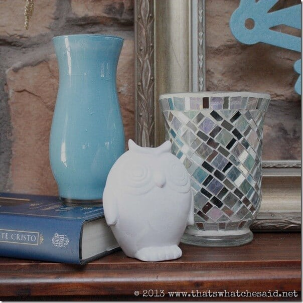 Painted Vases, Painted Owl, Sparkle Candle