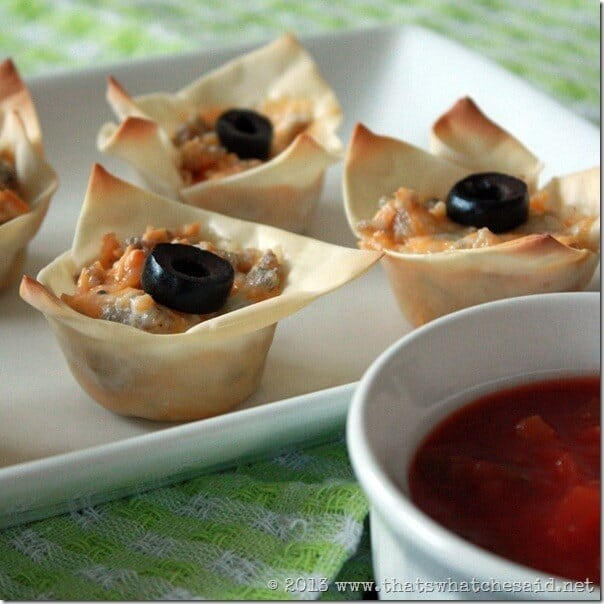Sausage Wonton Cups Appetizer Recipe at thatswhatchesaid.com