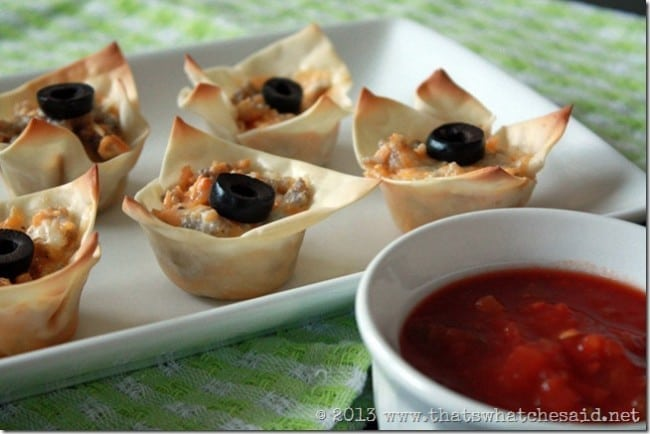 Sausage and Cheese Won Ton Cup Appetizer Recipe at thatswhatchesaid.net