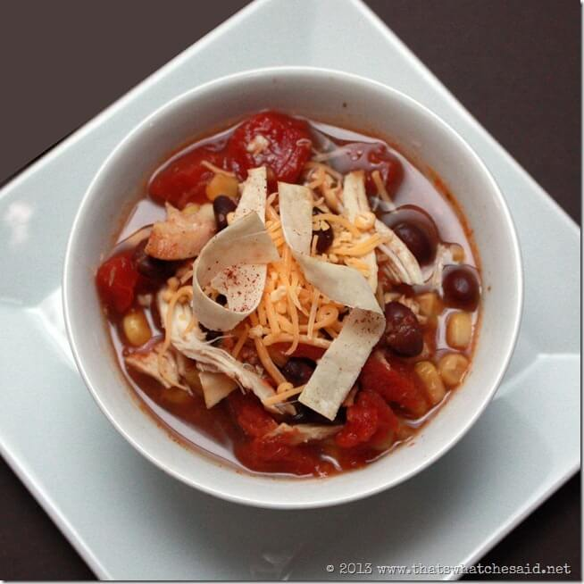 Chicken Taco Soup with Won Tons