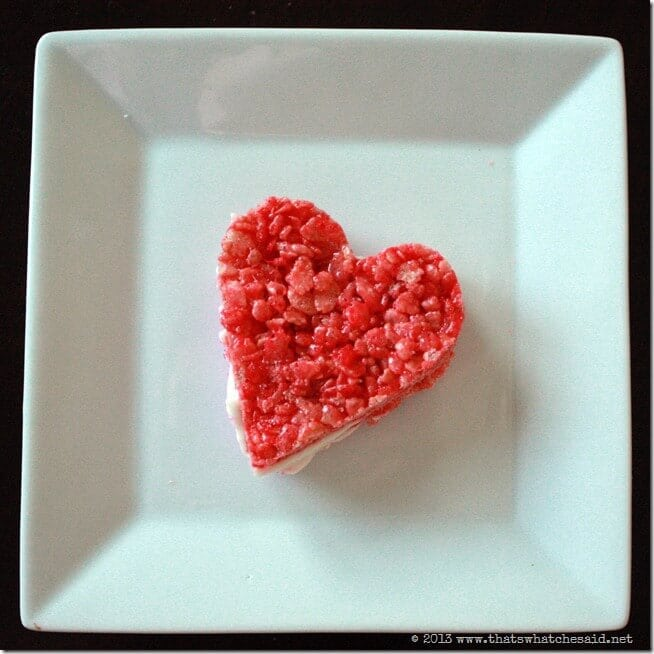 Strawberry Heart Rice Krispie Treats