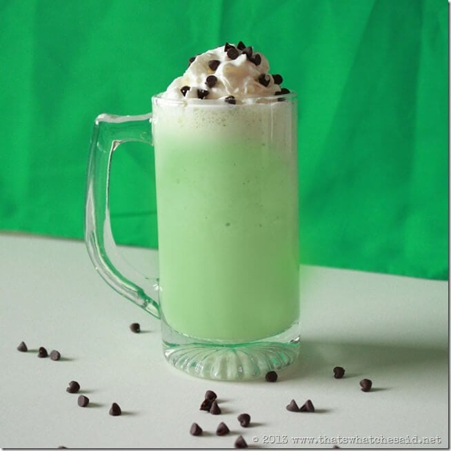 Copycat Shamrock Shake with Chocolate Chips