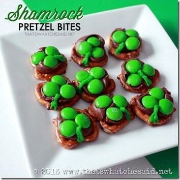 Hershey Kiss Shamrock Pretzel Bites