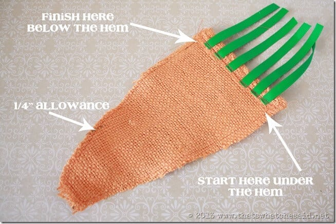 Sewing the Carrot Shape
