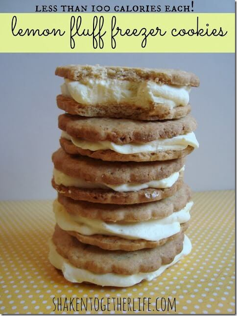 100 calorie lemon fluff freezer cookie stack BLOG