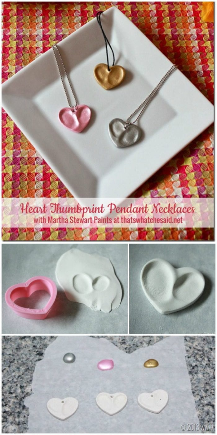 Use oven bake Clay to create one of a kind heart thumbprint keepsake necklaces