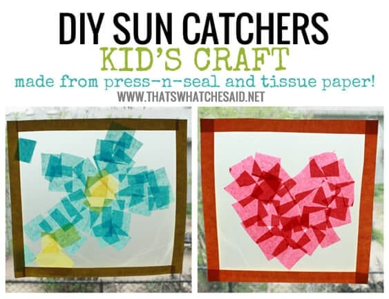 DIY Kids Crafts SunCatchers. So easy and fun and keeps kids occupied!