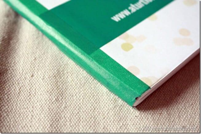 Washi Tape on Binding of Custom Notebook