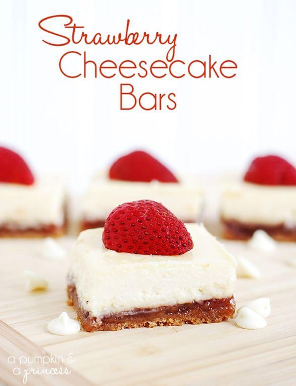 Strawberry Cheesecake Bars from A Pumpkin & A Princess