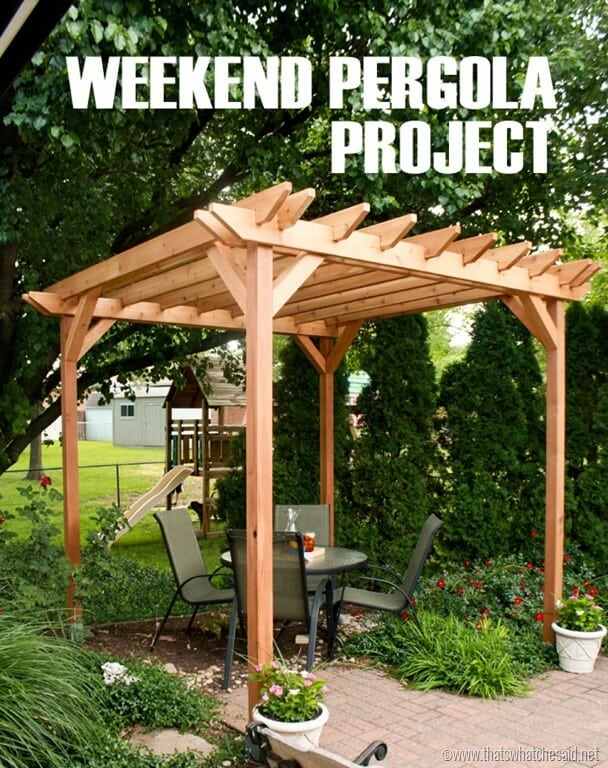 weekend diy pergola project that 39 s what che said. Black Bedroom Furniture Sets. Home Design Ideas