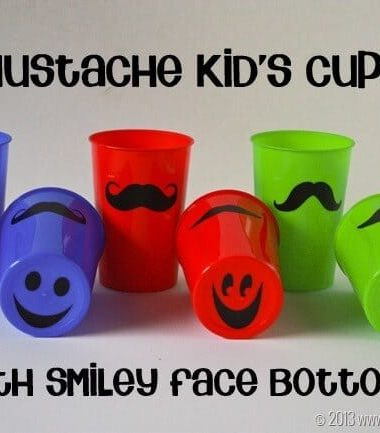 Mustache Cups with Smiley Face Bottoms