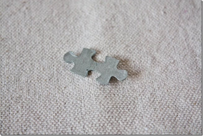 Painted puzzle piece for necklace