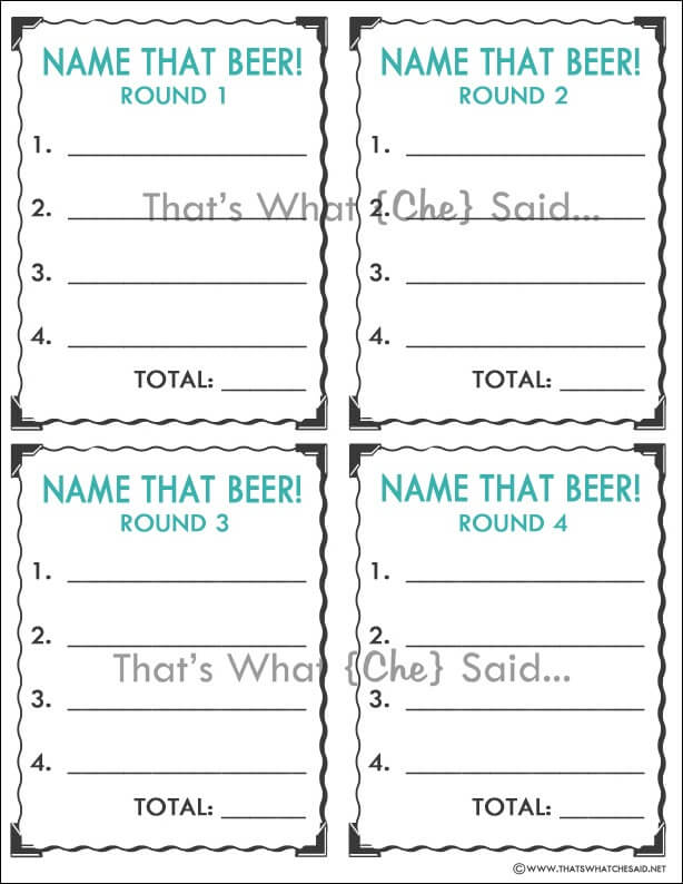 Beer Tasting Guessing Score Card with Watermark