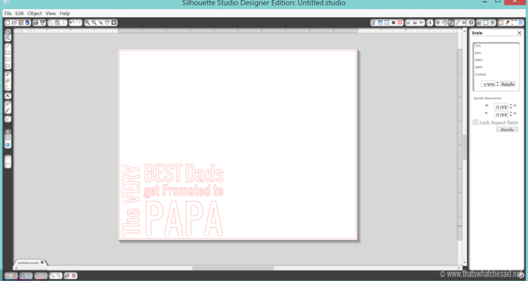 Screenshot of Silhouette Studio creating an etching template