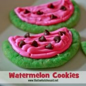 Super Easy Watermelon Cookies at www.thatswhatchesaid.com